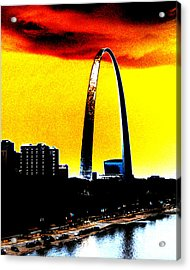 Acrylic Print featuring the digital art Orange Skies And The Arch by Maggy Marsh