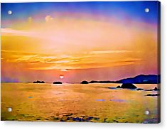 Orange Sky In Ixtapa, Mexico Acrylic Print