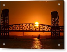 Orange Sunset Brooklyn Bridges Sailboat Acrylic Print
