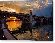 Acrylic Print featuring the photograph Orange Sunset Over Tempe Town Lake by Dave Dilli