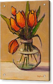 Acrylic Print featuring the painting Orange Tulips by Konnie Kim
