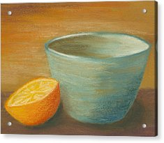 Orange With Blue Ramekin Acrylic Print by Cheryl Albert
