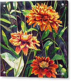 Acrylic Print featuring the painting Orange Zinnias by LeAnne Sowa