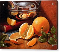 Oranges And Teapot Acrylic Print by Timothy Jones