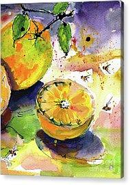 Oranges Fruit 2 Watercolor Paintings Acrylic Print