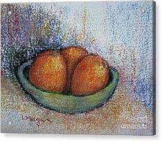 Oranges In Celadon Bowl Acrylic Print