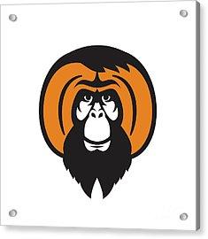 Orangutan Bearded Tussled Hair Retro Acrylic Print