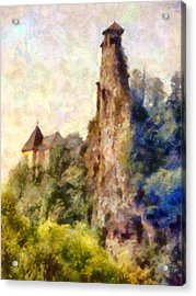 Orava Castle - Rear Side Acrylic Print by Peter Kupcik