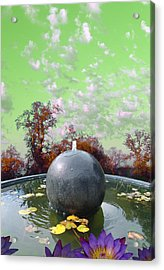 Acrylic Print featuring the photograph Orb Fountain by John Norman Stewart