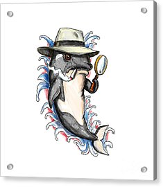 Orca Killer Whale Detective Tattoo Acrylic Print