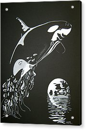 Acrylic Print featuring the drawing Orca Sillhouette by Mayhem Mediums