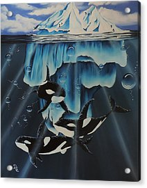Acrylic Print featuring the painting Orcas Versus Glacier by Dianna Lewis