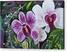 Acrylic Print featuring the painting Orchid At Aos 2010 by Donna Walsh