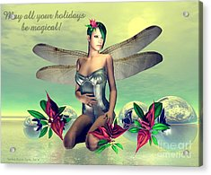 Acrylic Print featuring the digital art Orchid Faerie Holiday Card by Sandra Bauser Digital Art