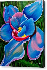 Orchid In Blue Acrylic Print