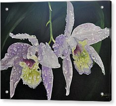 Acrylic Print featuring the painting Orchid Jewels by AnnaJo Vahle