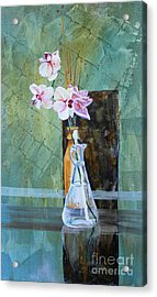 Orchids And A Rose Acrylic Print by Janet Felts