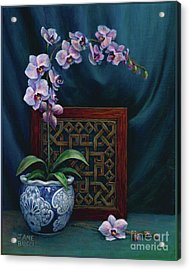 Orchids In A Chinese Pot Acrylic Print