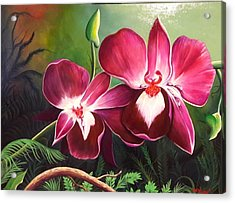 Orchids In The Night Acrylic Print