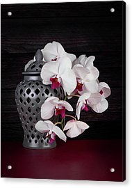 Orchids With Gray Ginger Jar Acrylic Print