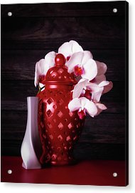 Orchids With Red And Gray Acrylic Print