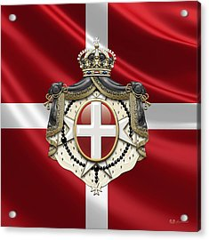 Order Of Malta Coat Of Arms Over Flag Acrylic Print