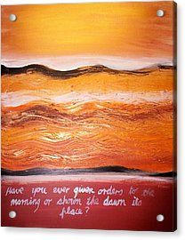 Acrylic Print featuring the painting Orders To The Morning by Winsome Gunning