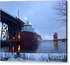 Ore Boat Loading Acrylic Print by Andrew Cravello
