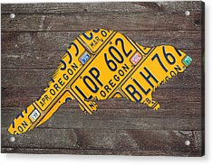 Oregon Beaver Official State Animal Shape Recycled License Plate Art Series Number 003 Acrylic Print