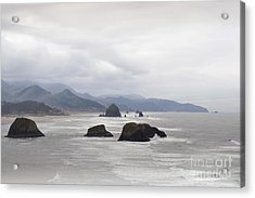 Oregon Coast Mountain Clouds Landscape Acrylic Print by Andrea Hazel Ihlefeld