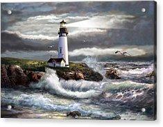 Oregon Lighthouse Beam Of Hope Acrylic Print by Regina Femrite