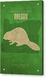 Oregon State Facts Minimalist Movie Poster Art Acrylic Print