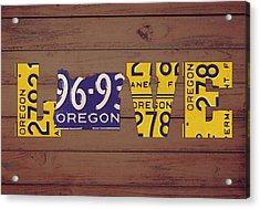Oregon State Love Heart License Plates Art Phrase Acrylic Print