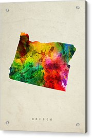 Oregon State Map 01 Acrylic Print by Aged Pixel