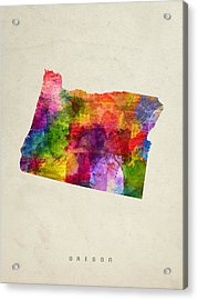 Oregon State Map 02 Acrylic Print by Aged Pixel