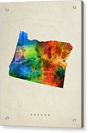 Oregon State Map 03 Acrylic Print by Aged Pixel