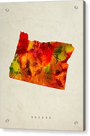 Oregon State Map 04 Acrylic Print by Aged Pixel