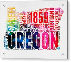 Oregon Watercolor Word Cloud Acrylic Print by Naxart Studio