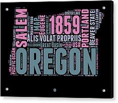Oregon Word Cloud 2 Acrylic Print by Naxart Studio