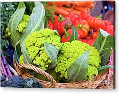 Organic Green Cauliflower At The Farmer's Market Acrylic Print
