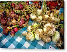 Organic Onions At A Farm Market Acrylic Print by Olivier Le Queinec