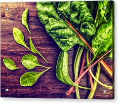 Acrylic Print featuring the photograph Organic Rainbow Chard by TC Morgan