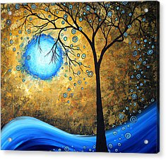 Orginal Abstract Landscape Painting Blue Fire By Madart Acrylic Print by Megan Duncanson