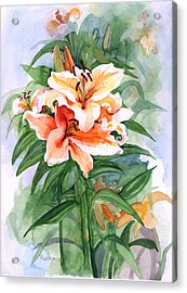 Acrylic Print featuring the painting Oriental Lilies by Nancy Watson