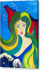 Japanese Mermaid Bubbles  Acrylic Print by ARTography by Pamela Smale Williams