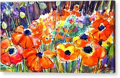 Oriental Poppies Behind Lindas Acrylic Print by Therese Fowler-Bailey