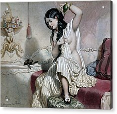Oriental Woman At Her Toilet Acrylic Print by French School