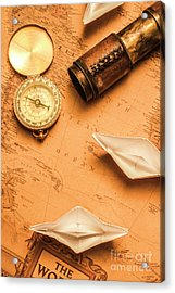 Origami Paper Boats On A Voyage Of Exploration Acrylic Print