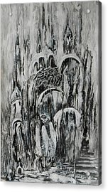 Original Abstract Black And White Painting The Return Of The Angel  Acrylic Print by Natalya Zhdanova