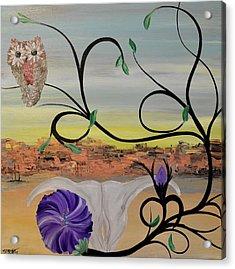 Original Acrylic Artwork By Mimi Stirn - Hoomasters Collection -hooo'keeffe #415 Acrylic Print